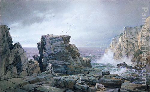 A Rocky Coast painting - William Trost Richards A Rocky Coast art painting