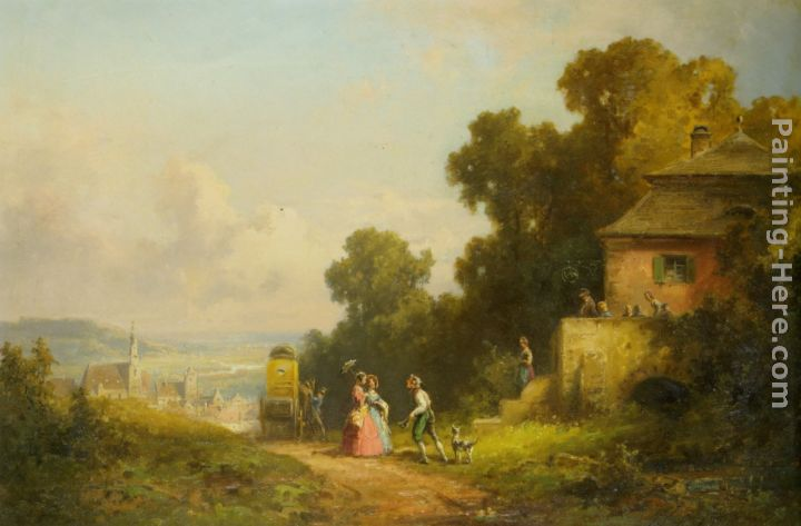 Figures and a Carriage on a Path with a Village Beyond painting - Willy Moralt Figures and a Carriage on a Path with a Village Beyond art painting