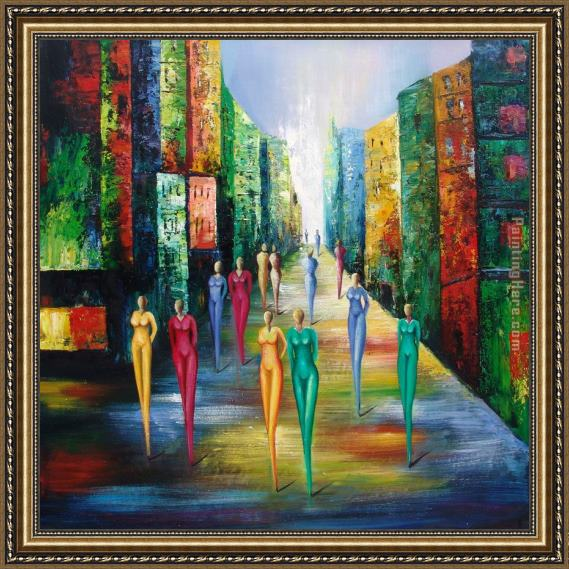 2010 Colorful Night Framed Painting