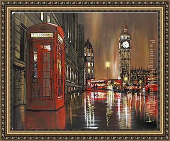 2011 big ben reverse view night - paul kenton Framed Painting