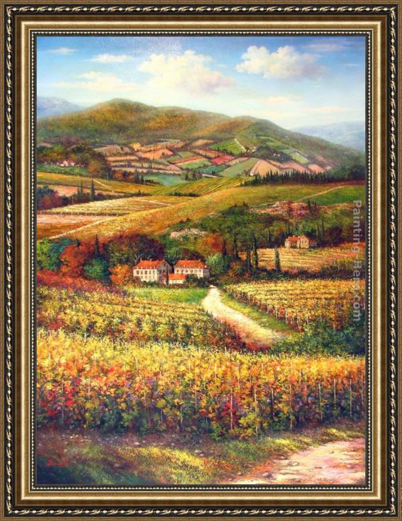 2011 Tuscan Vineyards Villas Framed Painting For Sale Paintinghere Com