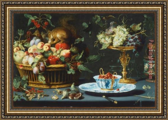 2017 new Still Life with Fruite Wan Li Porcelain And Squirrel Framed Painting