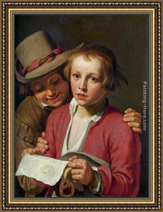 Abraham Bloemaert Two Boys Singing from Sheet of Paper Framed Painting