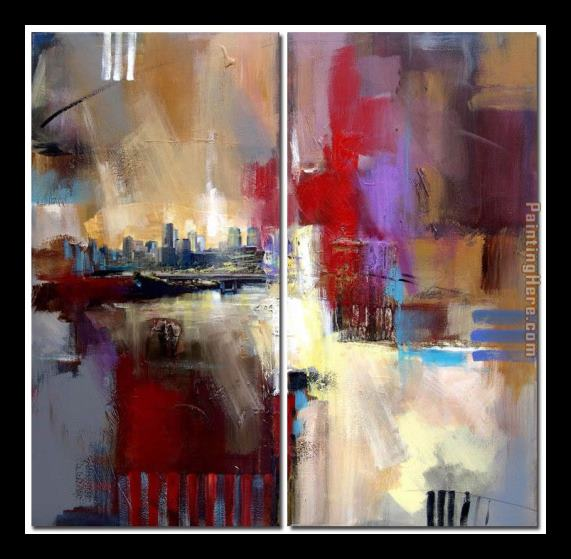 Abstract Sounds of City Framed Painting
