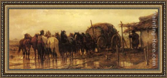 Adolf Schreyer Hitching Horses to the Wagon Framed Painting