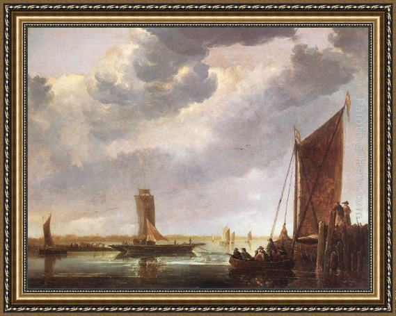 Aelbert Cuyp The Ferry Boat Framed Painting