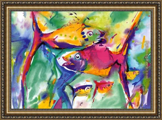 Alfred Gockel Colorful Fish Framed Painting