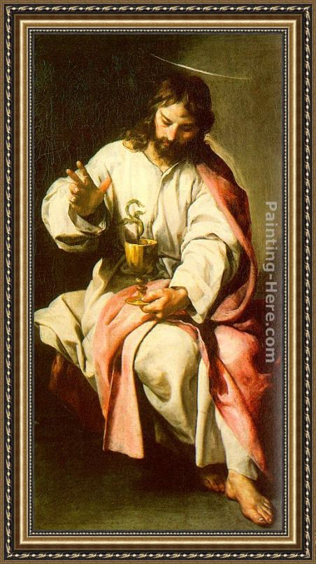 Alonso Cano St. John the Evangelist with the Poisoned Cup Framed Painting
