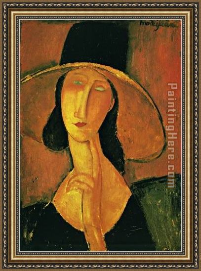 Amedeo Modigliani Jeanne Hebuterne in Large Hat Framed Painting