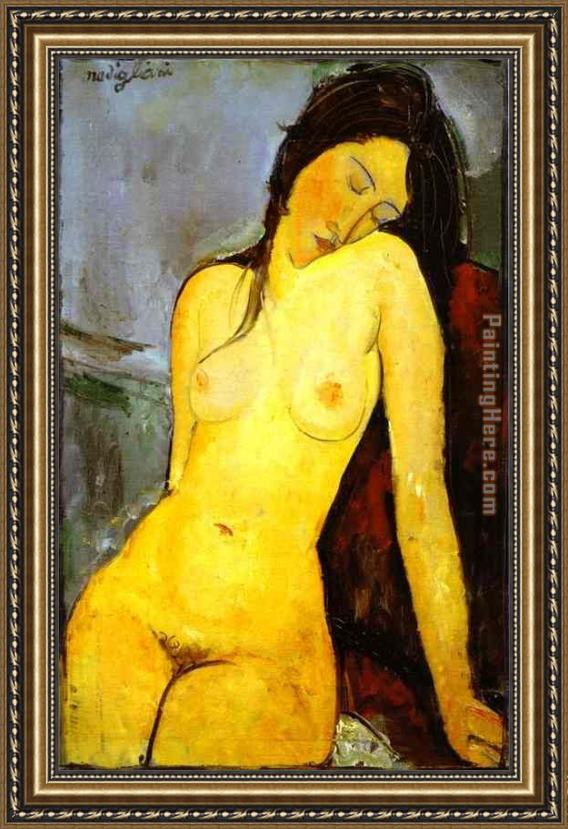 Amedeo Modigliani the Seated Nude Framed Painting