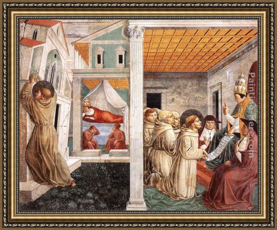 Benozzo di Lese di Sandro Gozzoli Scenes from the Life of St Francis (Scene 5, north wall) Framed Painting