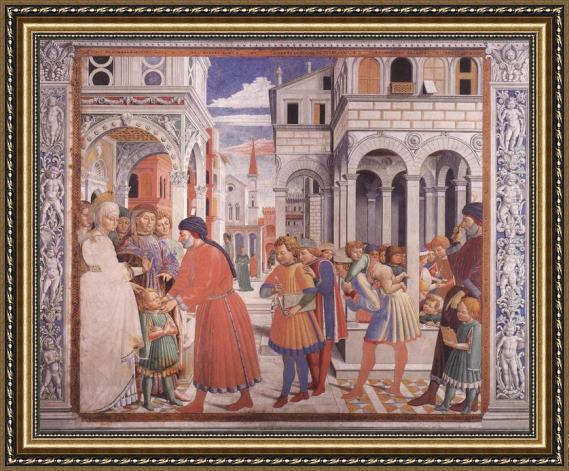 Benozzo di Lese di Sandro Gozzoli The School of Tagaste (scene 1, north wall) Framed Painting
