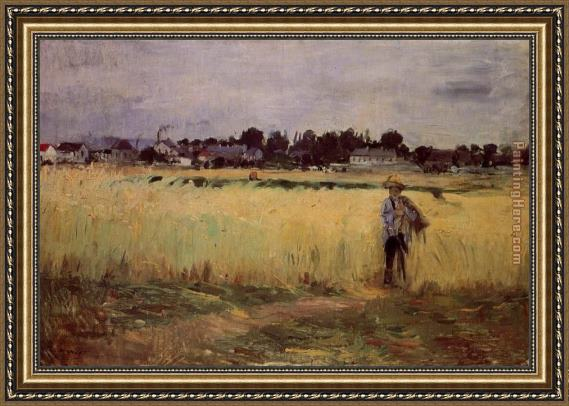 Berthe Morisot In the Wheat Fields at Gennevilliers Framed Painting