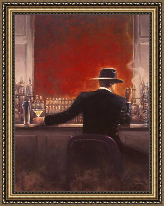 Brent Lynch Cigar Bar Framed Painting - 74.2KB
