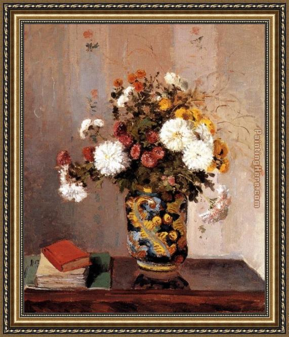 Camille Pissarro Chrysanthemums In A Chinese Vase Framed Painting