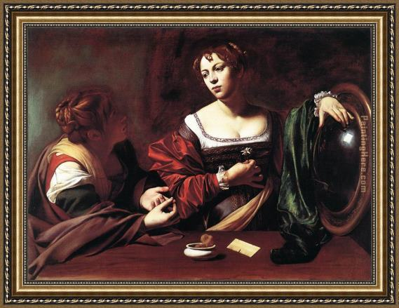 Caravaggio Martha and Mary Magdalene Framed Painting