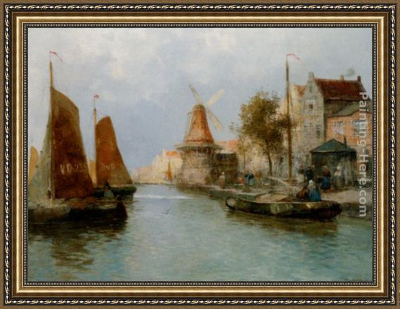 Carl Wagner Boats by the Riverbank Framed Painting