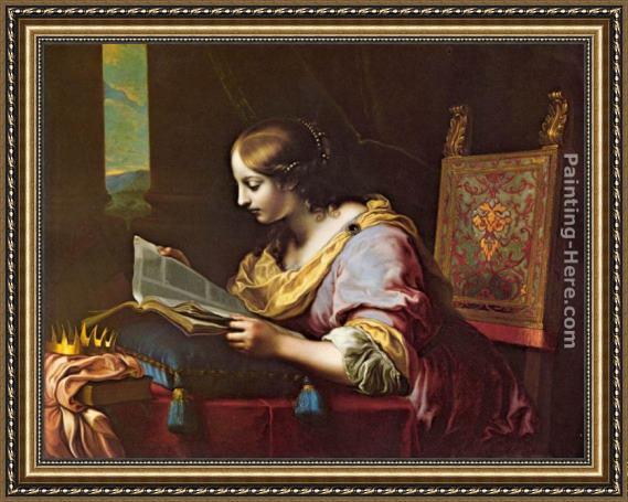 Carlo Dolci St Catherine Reading a Book Framed Painting