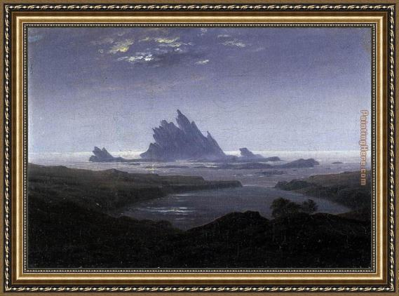 Caspar David Friedrich Rocky Reef on the Sea Shore Framed Painting