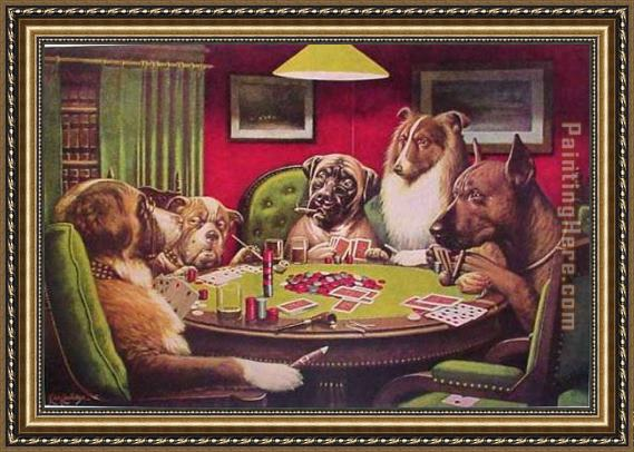 Cassius Marcellus Coolidge Dogs Playing Poker Framed Painting