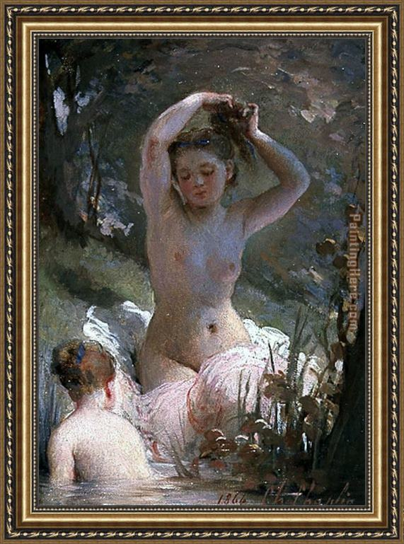 Charles Chaplin Two Girls Bathing Framed Painting