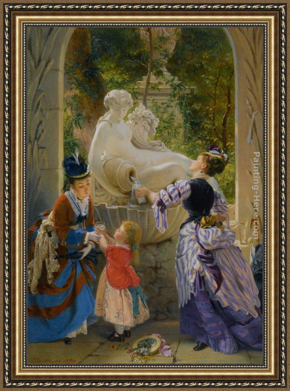 Charles Edouard Boutibonne A La Fontaine Framed Painting