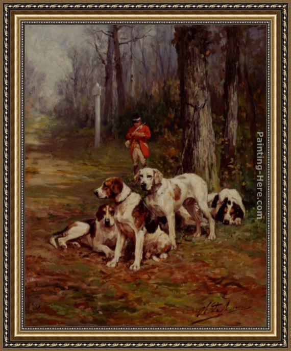 Charles Olivier De Penne Hunting Dogs At Rest Framed Painting for ...