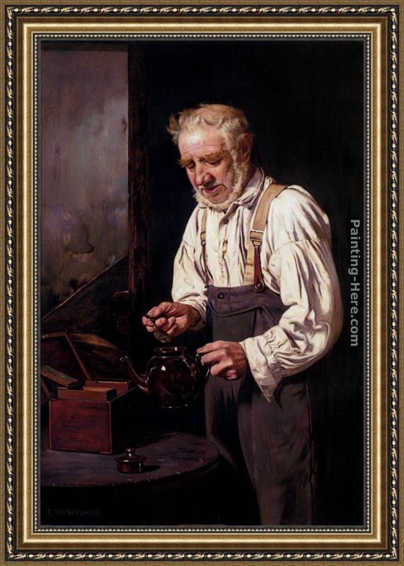 Charles Spencelayh Making The Tea Framed Painting
