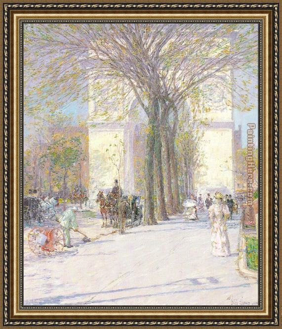 childe hassam Washington Arch in Spring Framed Painting