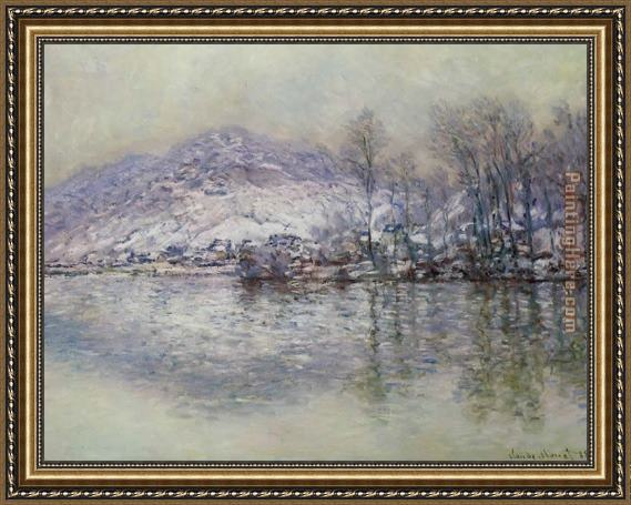 Claude Monet The Seine at Port Villez Snow Effect Framed Painting