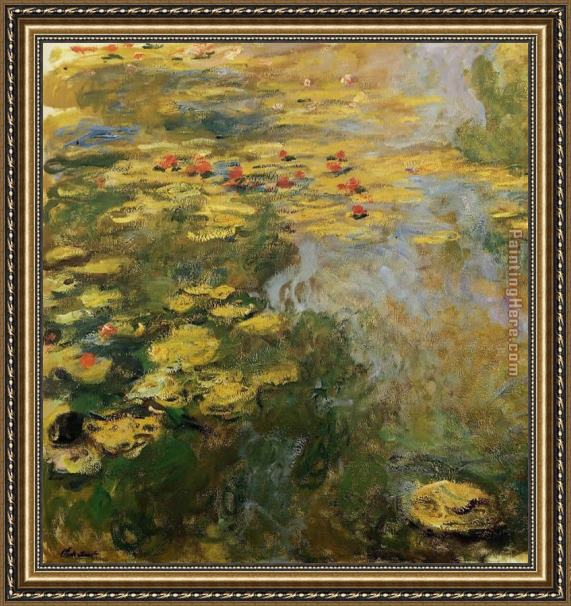 Claude Monet The Water-Lily Pond left side Framed Painting