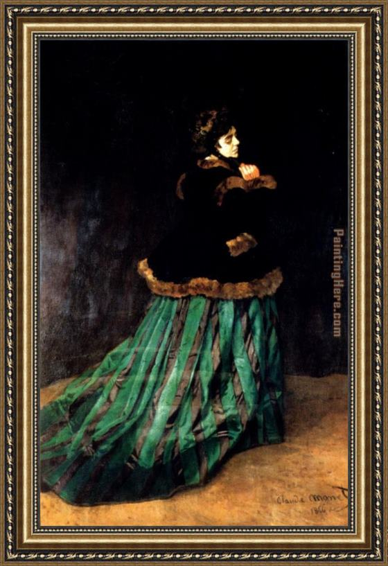 Claude Monet Woman In A Green Dress Framed Painting