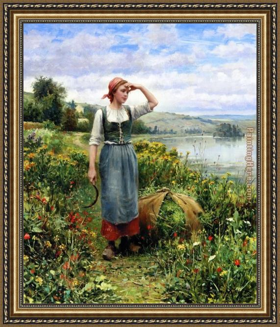 Daniel Ridgway Knight A Field of Flowers Framed Painting