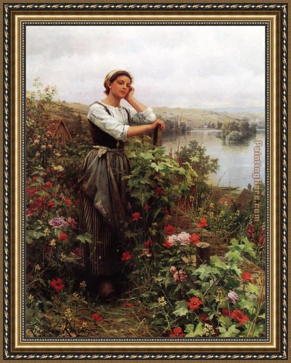 Daniel Ridgway Knight A Pensive Monent Framed Painting