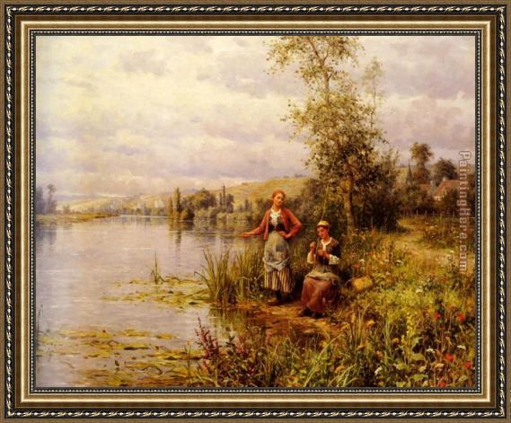 Daniel Ridgway Knight Country Women Fishing on a Summer Afternoon Framed Painting