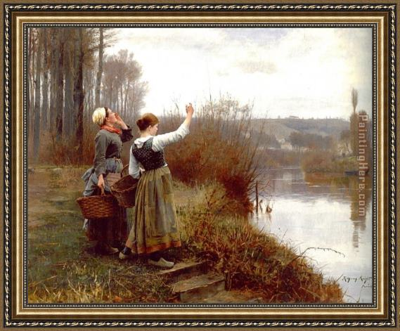 Daniel Ridgway Knight Hailing the Ferry Framed Painting
