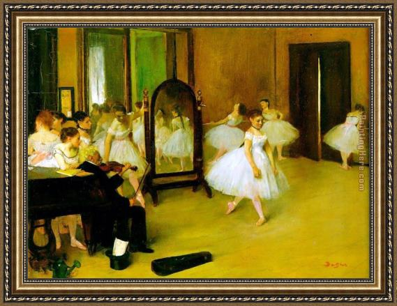 Edgar Degas dance class Framed Painting