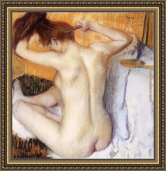 Edgar Degas Woman Combing Her Hair Framed Painting