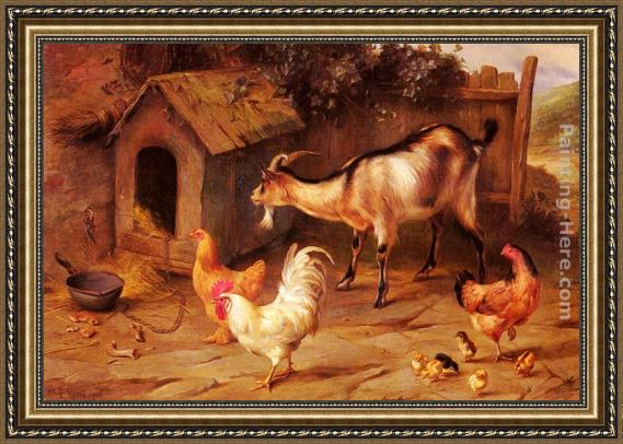 Edgar Hunt Fowl, Chicks And Goats By A Dog Kennel Framed Painting