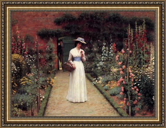 Edmund Blair Leighton Lady in a Garden Framed Painting