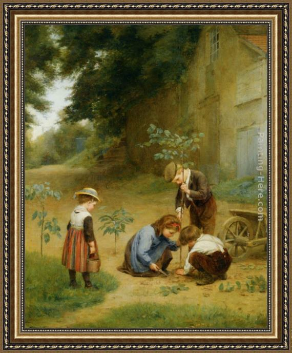 Edouard Frere Les Jeunes Jardiniers Framed Painting