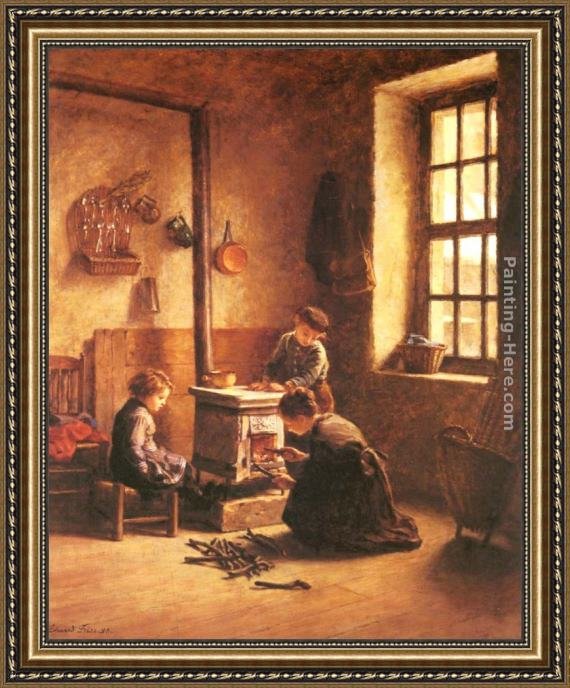 Edouard Frere Lighting the Stove Framed Painting