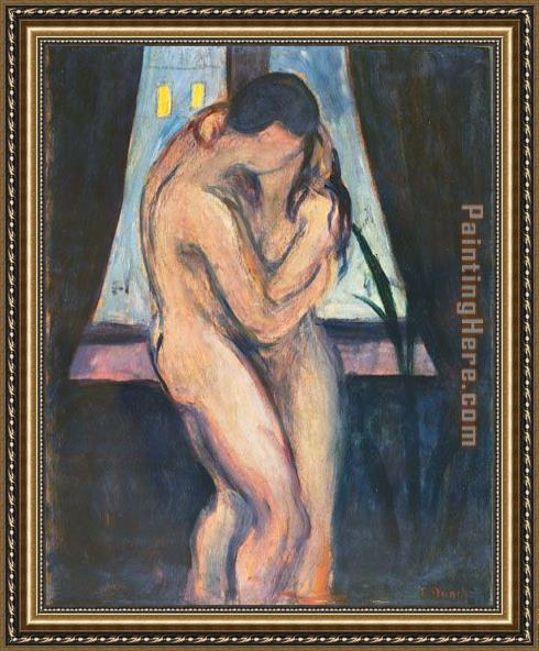 Edvard Munch the kiss Framed Painting
