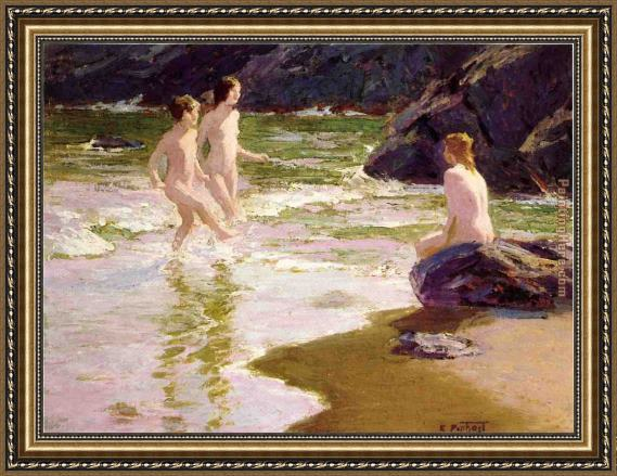 Edward Henry Potthast Young Bathers Framed Painting