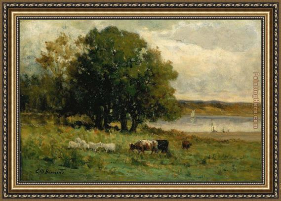 Edward Mitchell Bannister cattle near river with sailboat in distance Framed Painting