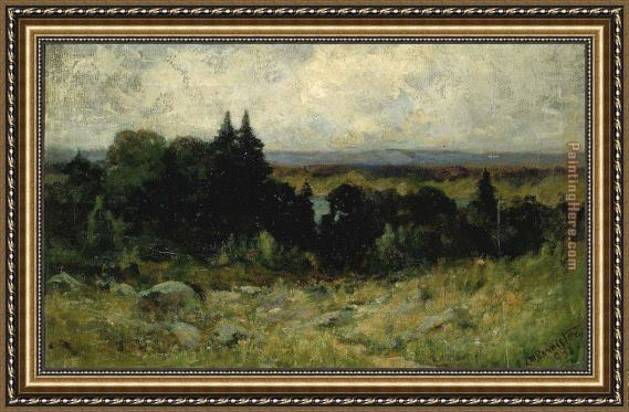 Edward Mitchell Bannister landscape, fields with rocks and trees Framed Painting