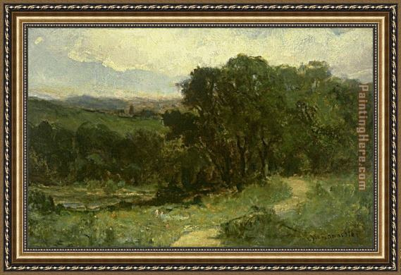 Edward Mitchell Bannister landscape with road near stream and trees Framed Painting
