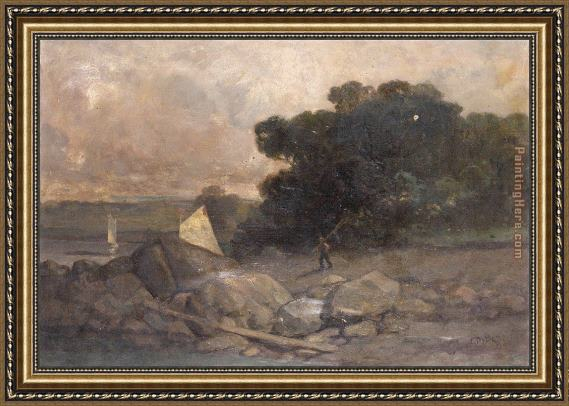 Edward Mitchell Bannister landscape with rocks, man and sailboats Framed Painting