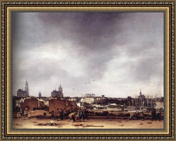 Egbert van der Poel View of Delft after the Explosion of 1654 Framed Painting