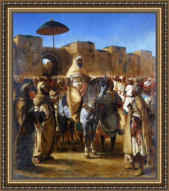 Eugene Delacroix The Sultan of Morocco and his Entourage Framed Painting